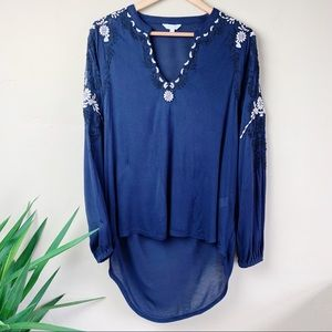 Lucky Brand High Low Blue Embroidered Tunic Sz M